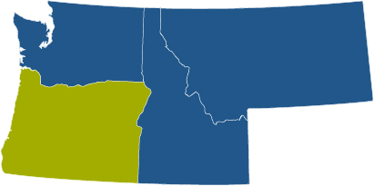 oregon usa map four state